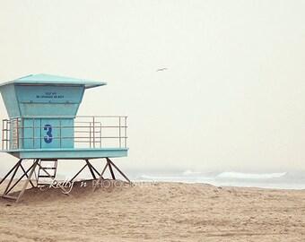 Beach Photography- Huntington Beach, Lifeguard Stand Photo, Number 3 Tower, Ocean Photography, Coastal Art, Teal Blue Tan, Beach House Decor