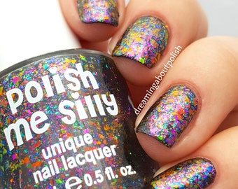NEW-FLAKIE-Aftershock Topcoat (larger flakes)Multi-Color Shifting Polish: Custom-Blended Glitter Nail Polish/Indie Lacquer /Polish Me Silly