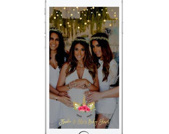 Unicorn Baby Shower/Birthday Custom Snapchat Geofilter, Gold, Confetti