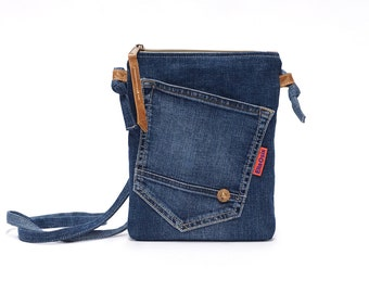Womens Denim Bag - Jeans Bag - Small Crossbody Bag with a long strap, leather details and a vintage button made by EllaOsix