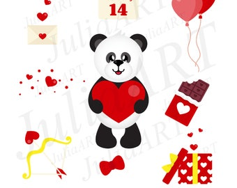 Cartoon  cut panda valentine day set vector image