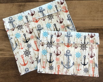 Rustic Anchors - Reusable Snack & Sandwich Bags