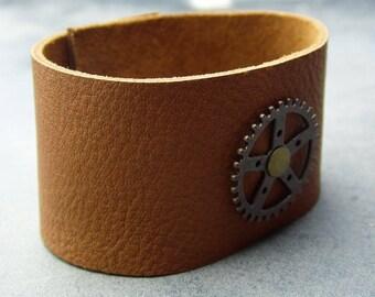 leather bracelet, wrap bracelet, steampunk bracelet, cuff bracelet, brown bracelet, leather wrap, wristband, wide leather cuff, mens leather