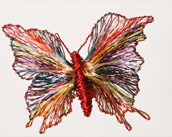 Butterfly art jewelry, colorful butterfly brooch, wire sculpture, large brooch, red jewelry, Sunmmer, unusual gift women, modern hippie