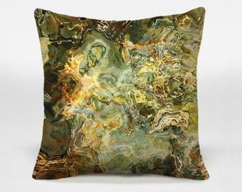 Accent pillow cover with abstract art, 16x16 and 18x18 olive green and brown decorative pillow, throw pillow cover, Legend
