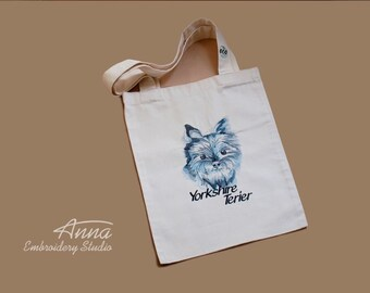 Dog Canvas Tote Bag - Shopper bag - Eco Bag - Embroidered  Bag - Dog Tote Bag - beach bag - Christmas gift