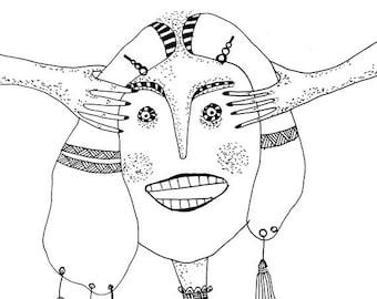 CRANIOSACRAL THERAPY, Illustrated woman,Original art print, Archival print.