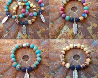 Lava and acai seed bead bracelets.