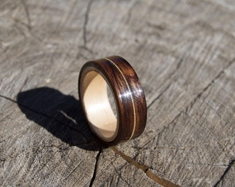 Rosewood and Maple Bentwood Ring with Guitar String Inlay