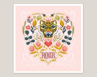 Roar - Tiger Art Print 8x8
