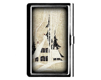 Home in the Snow vintage art Business Card Case Credit Card Holder stainless steel metal card case Wife Gift wedding gift winter scene
