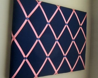 16x20 French Memory Board or Bow Holder, Ribbon Board, Photograph Organizer, Business Card Display, Bow Board, Vision Board, Navy & Coral