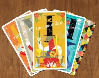 Madam Clara Presents The Midcenturian Tarot Card Deck, Rider-Waite symbolism abstracted modern