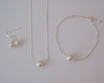 Set of 5 Floating Single Pearl Bridesmaid Gift Jewelry Set - Will you be my bridesmaid - Necklace Bracelet Earrings