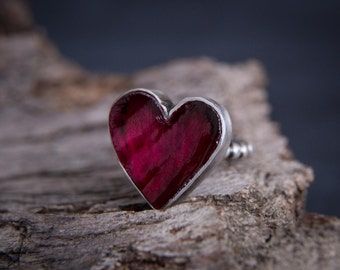 Ruby Heart Silver Ring-Sterling Silver Ruby Ring-Raw Ruby Jewerly-Rough Ruby Ring-July Birthstone Ring-Valentine Gift-Christmas Gift For Her