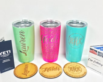 Powder Coated Yeti 20 oz Personalized Laser Engraved Tumbler | We Can Laser Etch Anything!