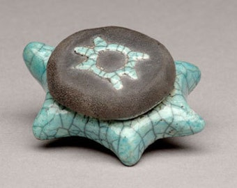 Ancient Spirit Turtle Raku Fired Ceramic Pottery Fetish Turtle, Totem Animal