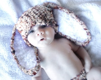 0 to 3m Bunny Hat Newborn Rabbit Beanie, Crochet Newborn Baby Hat, Speckle Brown Bunny Costume, Baby Bunny Ears  Costume, Baby Gift