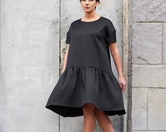 Black Dress, Gothic Dress, Oversized Loose Dress, Women Dress, Knee Length Dress, Black Summer Dress, Victorian Clothing, Minimalist Dress