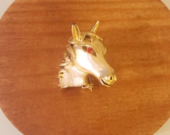 Vintage Gold Horsehead Red Eyed 60's Brooch