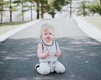 Bohemian Babies Gray and White Striped Romper//Striped Romper//Toddler Romper//Baby Overalls//Pant Romper//Gender Neutral//Made to order