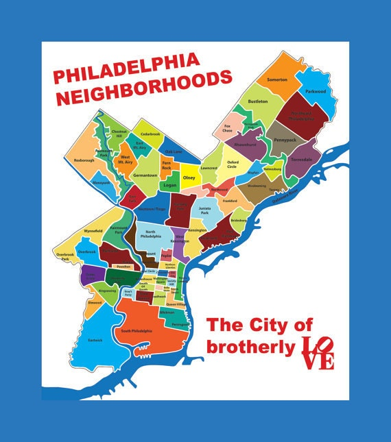 Philadelphia k Map Typography City of Brotherly Love