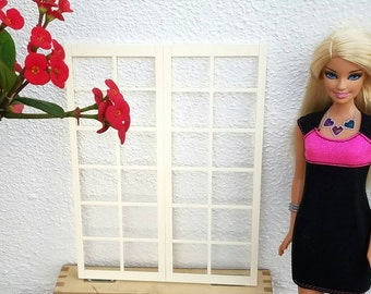 Elegant French Door Window for 1/6th fashion dolls / 1:6 scale / Playscale Room