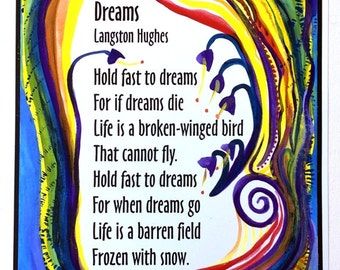 DREAMS 11x14 LANGSTON HUGHES Poetry Quote Poster Black Lives African American Inspiration Classroom Decor Heartful Art by Raphaella Vaisseau