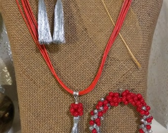 Tassel pendant, tassel bracelet and tassel earrings