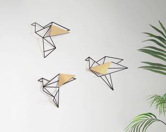 Set Of 3 Wall Art, Geometric Birds,gold Metal Bird Wall Art, Metal
