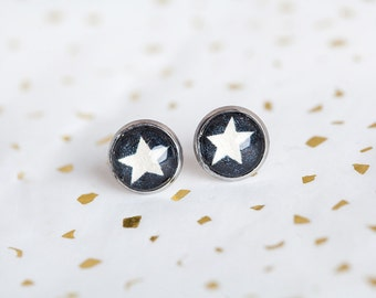 White Star Studs, Navy, Star Studs, Star Earrings, White Navy Studs, Midnight Blue, Stars, Gift for Her, Bees and Buttercups, Navy Studs
