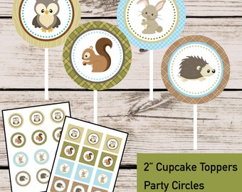 Woodland Baby Shower, Forest Animal Cupcake Toppers Party Circles, INSTANT DOWNLOAD DIY Digital Printable File, Woodland First Birthday