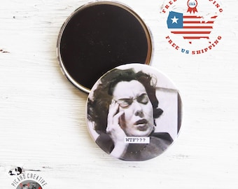 """Funny Magnet WTF? Vintage Image- 3"""" Magnet or Pocket Mirror in Gift Packaging- FREE Us SHIPPING"""