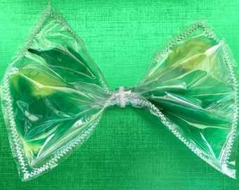 Green Feather hair bow, Green feather see-thru bow, Green hair bow, giant hair bow, giant Green hair bow, clear hair bow, hair bow