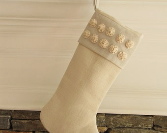 Burlap Linen Christmas Stocking Winter White Rosettes