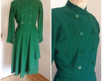 Vintage Forties green dress, vintage wool dress, vintage dress size extra small, small, 2, 4, military inspired, 1940s dress, World War II e
