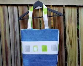 Recycled Denim Bag, Green Grey Cubes, Fully Lined, Denim Tote Bag, Ecofriendly, Handmade, Repurposed Denim Bag, Weekend Bag