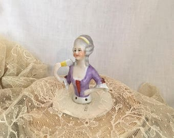 Antique 1920s Porcelain Half Doll German Glazed China Flirty French Courtesan Colonial Lady Holding Fan