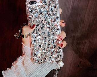 Bling rhinestone iphone 7/iphone 8 case luxury tassel fashion DIY handmade case