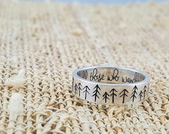 Inspirational Ring - Tree Ring - Inspirational Jewelry - Outdoor Gift - Tree Jewelry - Silver Ring - Wedding Band - Forest Ring - Woodland