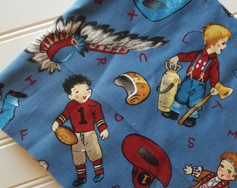 Michael-Miller-Fabric-By-The-Yard-Bobby-Pretends-Vintage-Sports-Fireman-Cowboy-Cotton-Quilt-Fat-Quarter-Sew-DIY-Projects-Crafts-Supplies
