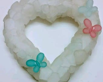 Sea glass wreath heart valentines gift beach glass art nautical decor