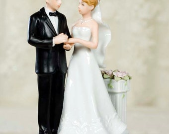 Rose Garden Wedding Couple Figurine - Custom Painted Hair Color Available - 707532