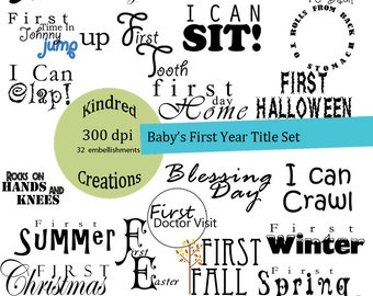 Baby's First Year Title Embellishment Set 300 dpi printable clipart Personal and Commercial Use