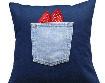 Denim western pillow cover / Upcycled jeans pocket detail with bandana / Rancher or farmer theme pillow cover / Handmade pillow