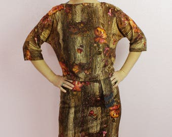 1960s Psychedelic Multi-Colored Polyester Floral Wiggle Dress Size SMALL/MEDIUM