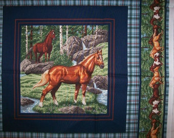 A Beautiful Horses Running Wild Fabric Panel Free US Shipping