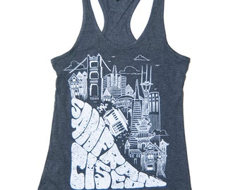 Women's San Francisco SF HILL Racerback Tank Top with cable car and golden gate bridge - S-XL