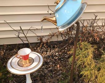 Funky fancy golden tea pot bird feeder