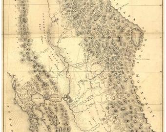 California 1848 Map  Gold and Silver Quicksilver District  Reprint
